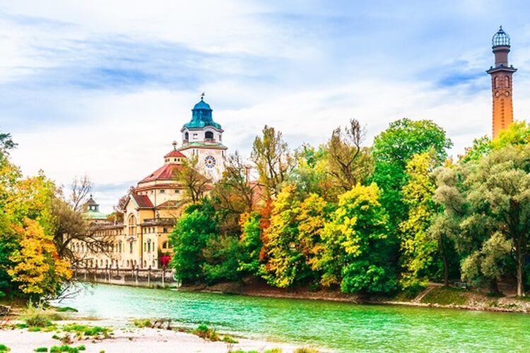 View On Colorful Autumn Landscape In Front Of Mueller Volksbad Of Isar River Munich Shutterstock 1171899118